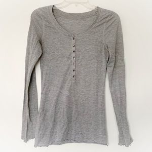 ★ ANGEL | HALF BUTTON UP COMFY TOP W/RUFFLE ENDS